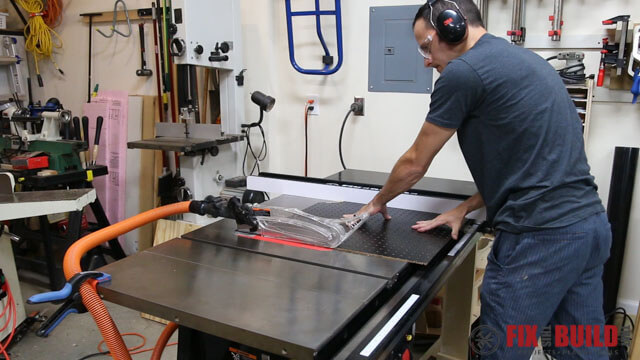 Cutting sanding table top to size