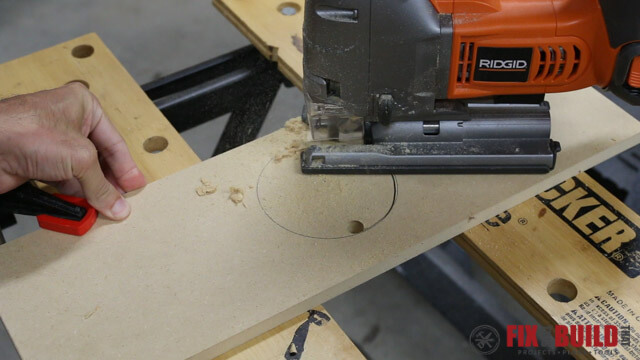 using jigsaw to cut out dust port hole