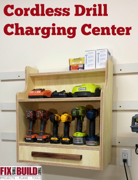 Cordless Drill Charging Center - Pinterest text
