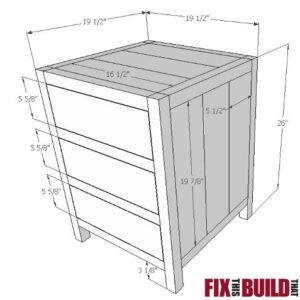 DIY 3 Drawer Nightstand Plans