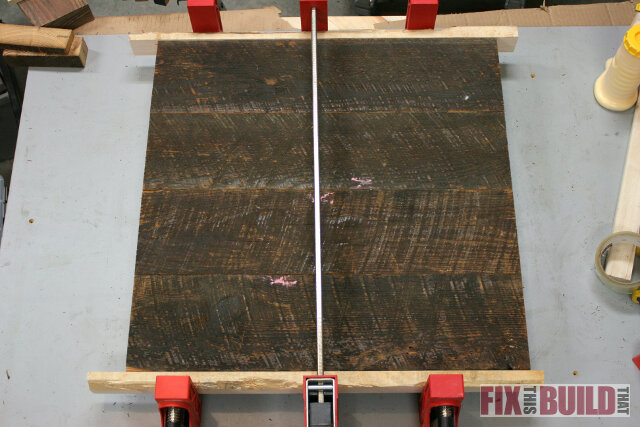 reclaimed wood glue up table