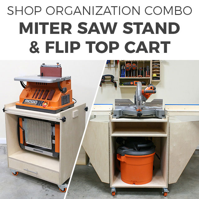 Miter Saw Stand and Flip Top Tool Cart Plans PDF Combo