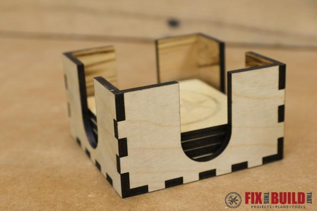 Custom Laser Wood Coaster Set