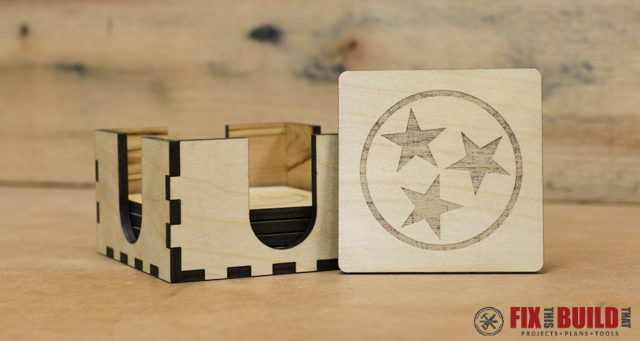 Custom Laser Wood Coaster Set
