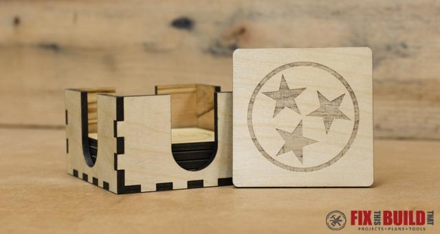 Custom Lasered Wood Coaster Set | FixThisBuildThat