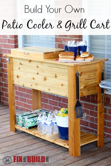 How to Build a Patio Cooler and Grill Cart Combo ...