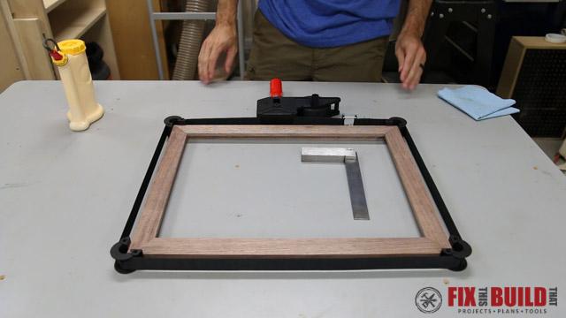 checking square on mitered frame