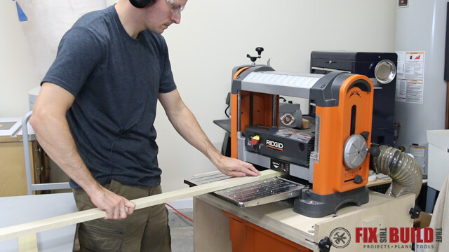 running a board through a ridgid planer