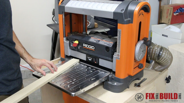 angle boards to reduce planer snipe