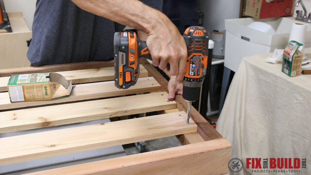 attaching seal slats with spax screws and a ridgid drill