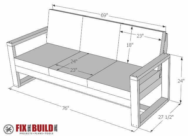 How to build a diy modern outdoor sofa fixthisbuildthat for Outdoor sofa plans