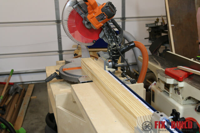 cutting post to size on miter saw