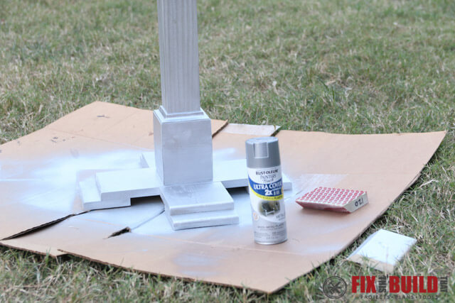 spray painting the christmas stocking post