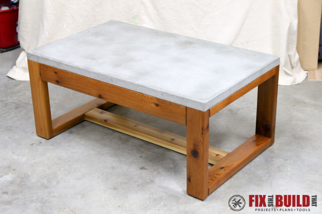 DIY outdoor concrete top coffee table
