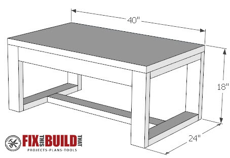 DIY concrete top coffee table plans