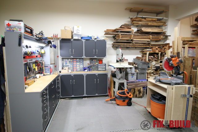 workbench are of woodworking shop