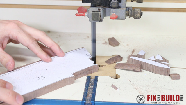 cutting out the magnetic key holder on a bandsaw