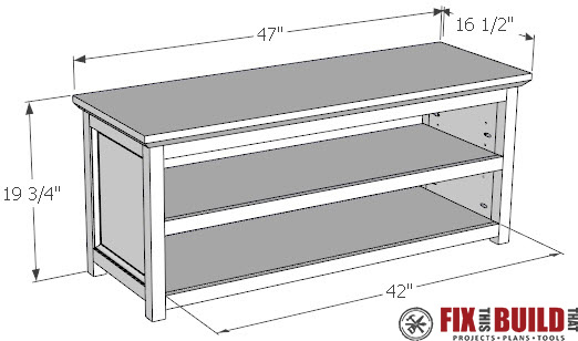 The sides of the entryway shoe bench have a modified frame and panel ...