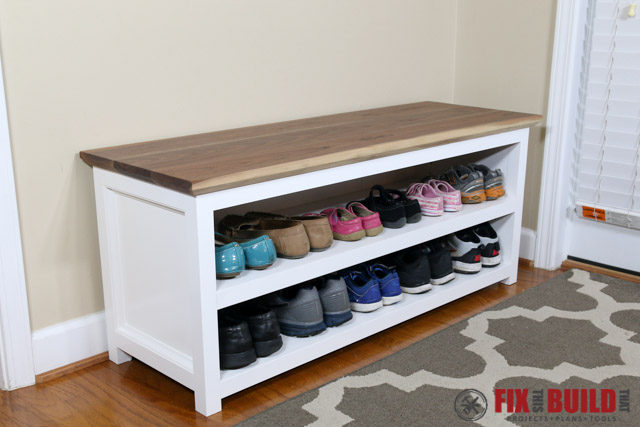 Diy entryway shoe storage bench fixthisbuildthat Entryway shoe storage bench
