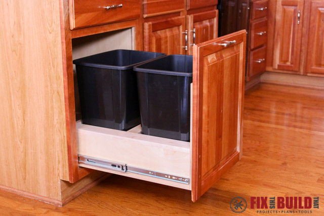 kitchen cabinet trash bin diy pull out trash can fixthisbuildthat 19708