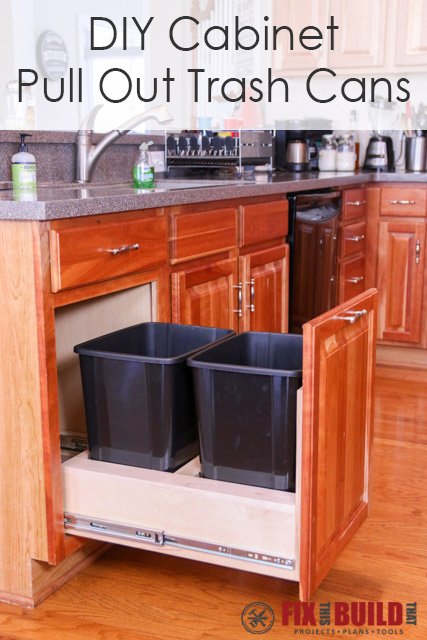 kitchen trash cabinet pull out diy pull out trash can fixthisbuildthat 8674