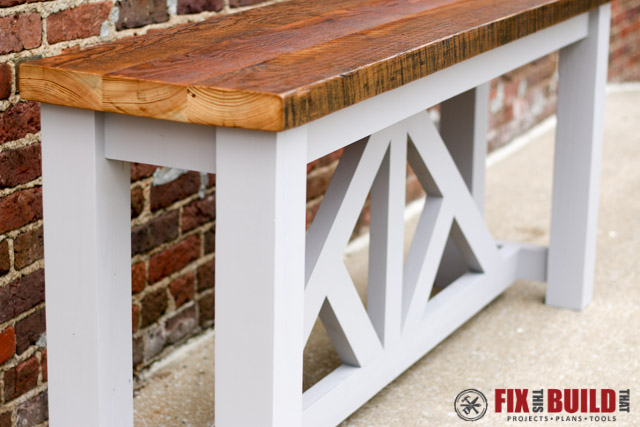DIY Truss Console Sofa Table