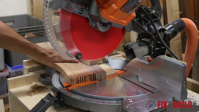cutting a cutting board to length on a miter saw