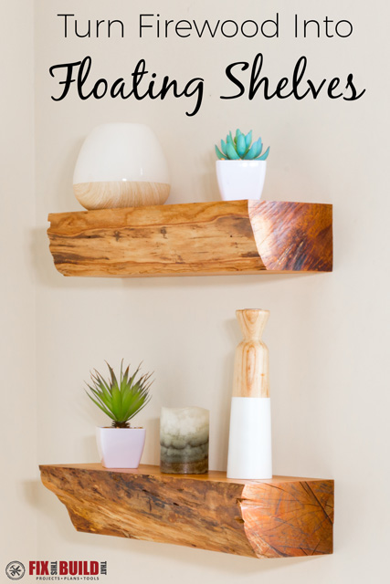DIY Floating Shelves from Firewood with Invisible Hardware