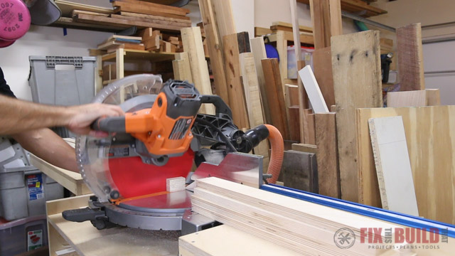 gang cutting plywood on miter saw