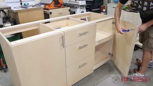 how to mount hardware on a base cabinet & How to Build a Base Cabinet with Drawers | FixThisBuildThat