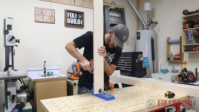 'drilling pocket holes with kreg k4 pocket hole jig' from the web at 'http://fixthisbuildthat.com/wp-content/uploads/2017/09/How-to-Build-a-Base-Cabinet-5.jpg'