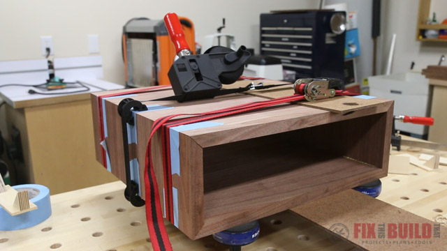 clamping a mitered box with strap clamps and ratchet straps