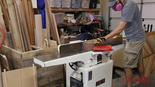 jointing a walnut beam for resawing
