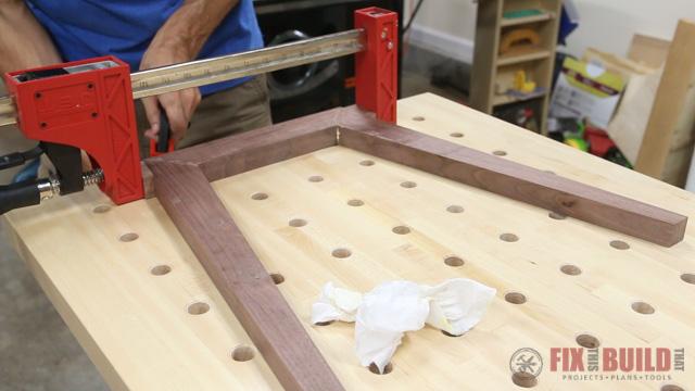 modern end table leg glue up