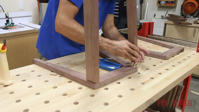 glueing dowel joints for an end table