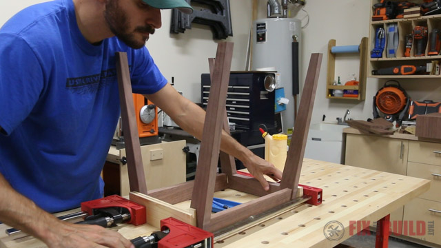 clamping up a modern side table base