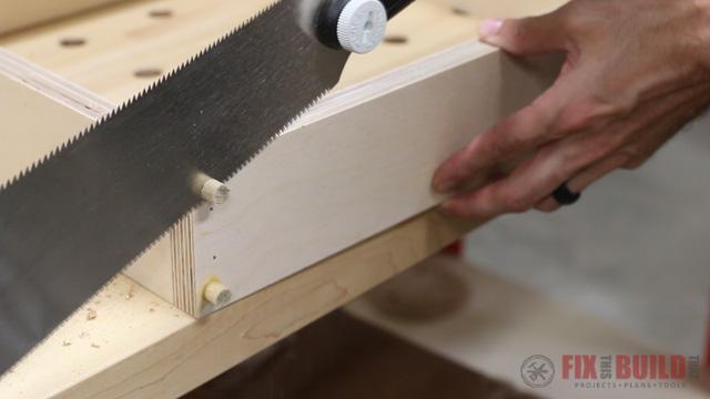 flush cutting dowels on a drawer
