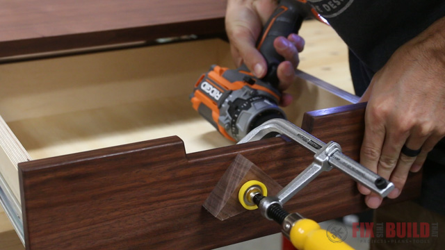 attaching a drawer front to an end table