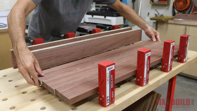 gluing up an end table top