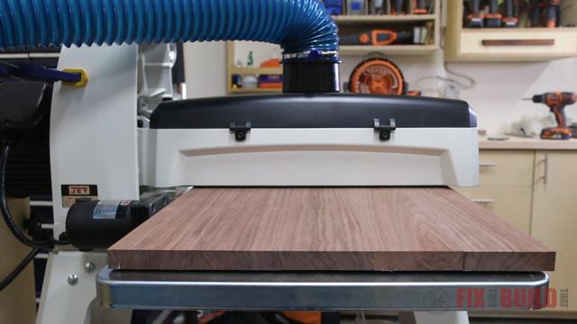 JET 18-36 drum sander sanding a wide panel