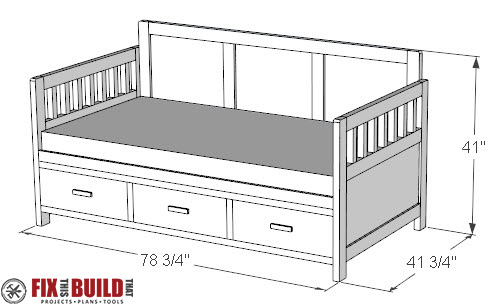 DIY Daybed with Storage Drawers Twin Bed Plans