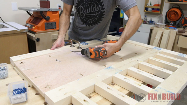 assembling the headboard of a diy bed
