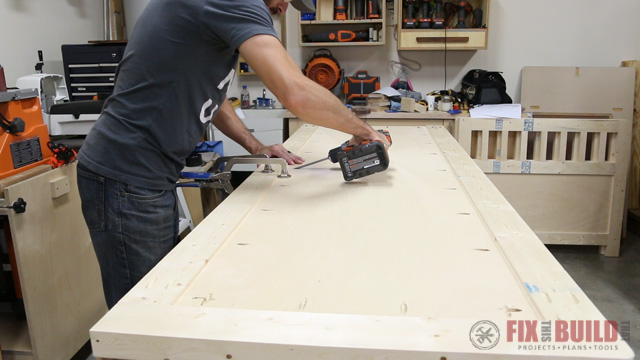 assembling the back of a diy daybed