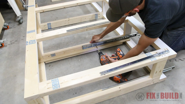 installing drawers in a diy bed frame