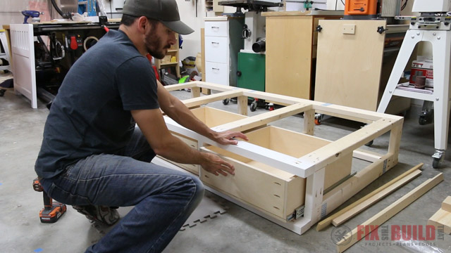installing drawers in a storage bed