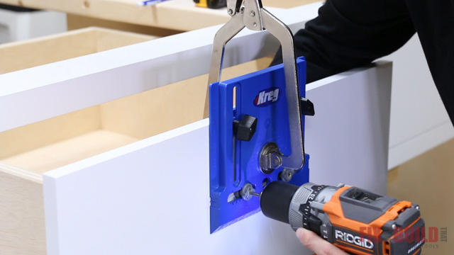 Drilling holes for cabinet pulls with a Kreg Cabinet Hardware Jig
