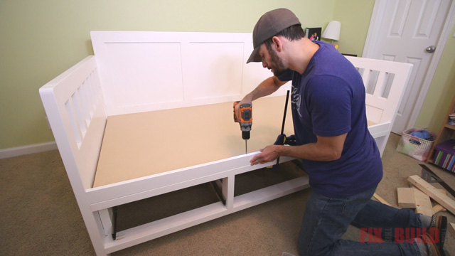 DIY twin bed with storage drawers underneath
