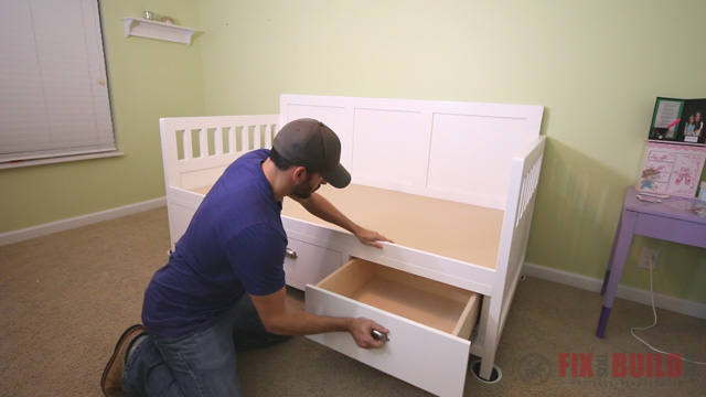 DIY daybed with storage drawers underneath