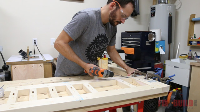 Securing the rails on the DIY daybed