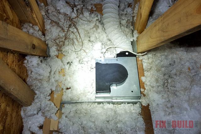 new bathroom fan installed in attic